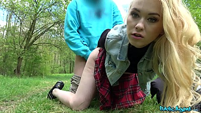 Fucked on the grass getting those knees dirty with student for cash 1 on 1 Misha Cross