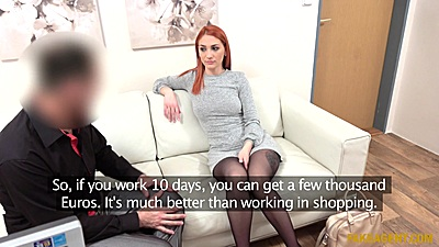 Redhead girl Luna Melba discussing future modeling opportunities