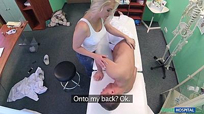 Frisky blondie Kathy Anderson cfnm men getting sucked off