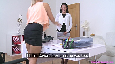 Lesbian female casting with Davon Kim and Tracy Lindsay