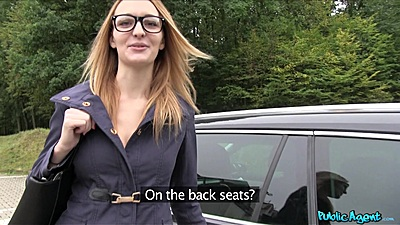 Glasses chick happy to be paid to fuck in car with Belle Claire