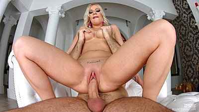 Dick riding with pussy sex and titty fuck from white Allison Blond