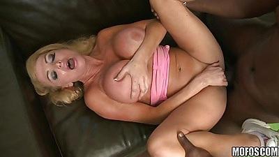 Milf spreading her shaved pussy for a huge black shaft
