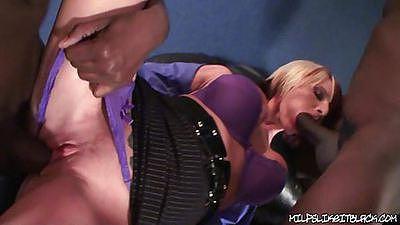 Two blacks cocks on a busty slut