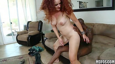Big tits shaved pussy milf riding black cock
