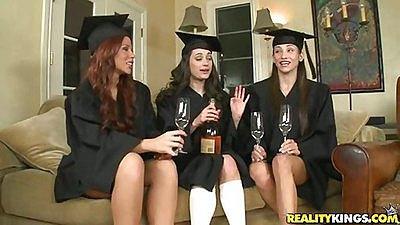 Hot grad girls having drinks in a group