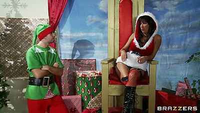 Hot milf Santa Lezley Zen smoking it up