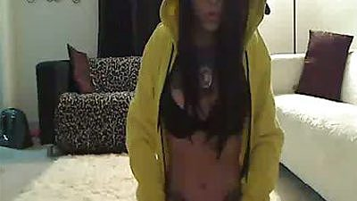 Amateur EmmaInk wearing a hood showing her ass