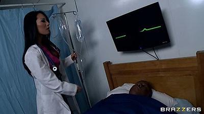 Asa Akira a beautiful asian doctor checks patient