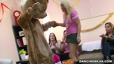 Dancing bear pulling blondie for a dance