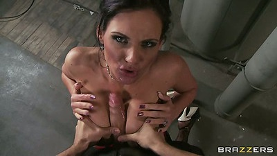 Busty milf Phoenix Marie pov titty fuck and standing rear penetration in jail