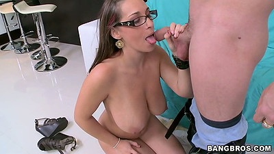 Jasmin kneeling for a blowjob and titty fuck