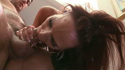 Deep throat blowjob with sexy oiled up ass Syren DeMer