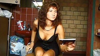 Brunette slut on first sex video