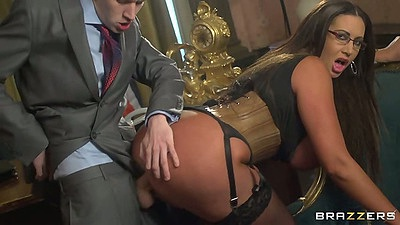 Brunette big tits milf Emma Butt fucked half dressed by man in suit