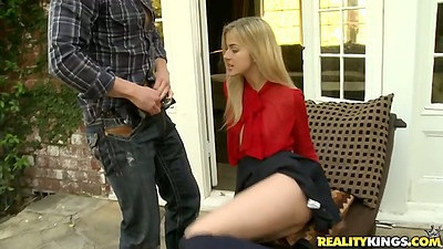18 year old Abigaile reaching into mans pants for dick