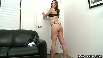 Melissa Moore posing her ass near the casting couch