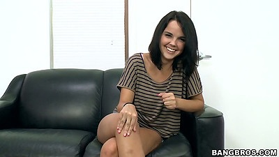 Brunette Dillon Harper comes into back room facial audition