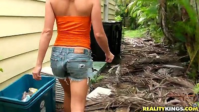 We just picked up a fresh and young Loren Blaine and pov blowjob outdoors