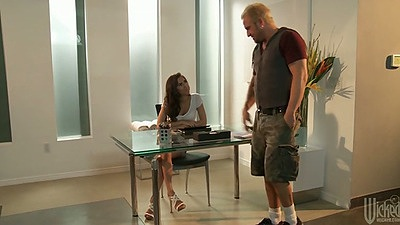 April Oneil working at the office and sucking some deep throat cock
