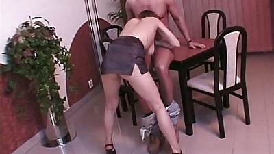 Blowjob from half dress Ellen and rear entry doggy style