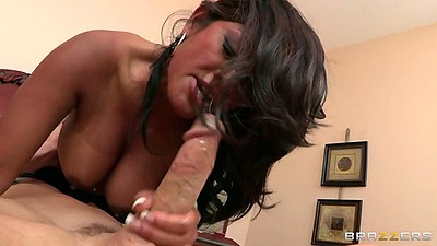 Big dick blowjob from asian milf Maxine X and shaved pussy reverse cowgirl fuck