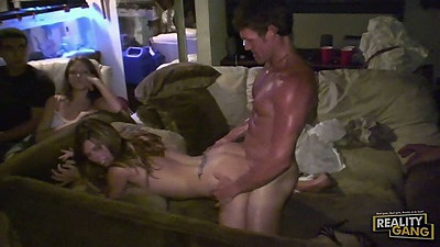 Other people watching at a party with slut getting fucked in public