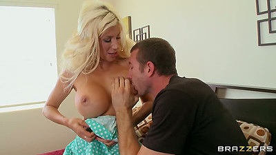 Big tits milf Puma Swede sucks dick and gets those mom tits squeezed