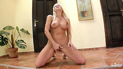 Big tits glamcore Cindy Dollar masturbation with legs spread