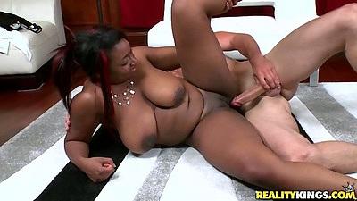 Shaved pussy natural big tits ebony Selenna sideways fucking