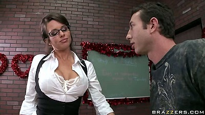 Busty teacher Veronica Avluv makes male student her fucking toy