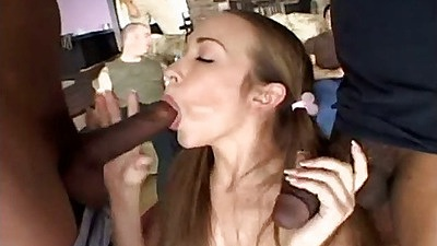 Interracial blowjob as big black cocks are sucked off by petite white Jamie