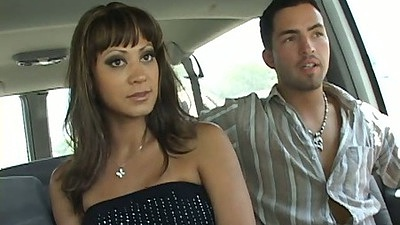 Milf Stephanie Tripp sitting in the back seat while driving