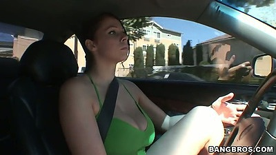 Driving around with Gianna Michaels in the frontseat outdoors