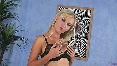 Blonde solo euro chick Chikita takin off bra and panties