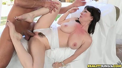 Hairy but nicely trimmed pussy Ray Veness fucked hard outdoors