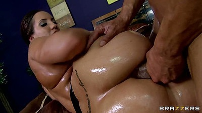 Big ass Kelly Divine anal and oil sex with dripping liquids from anus