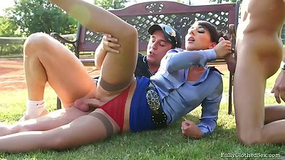 Sideways fully clothed fuck for Terra Sweet outdoors with blowjob