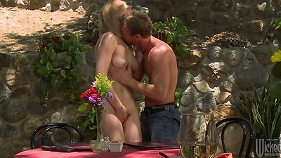 Natural tits Lily Labeau blowjob and doggy style fuck outdoors