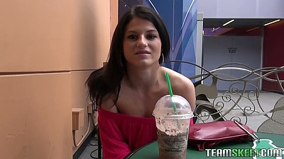 Outdoor picking up Aubrey Sky in public in a cafe