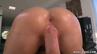Great round ass Mia Malkova with oil sits on cock and doggy style entry
