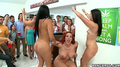 Dorm party with pros like Ashli Orion and Diamond Kitty entertaining a group