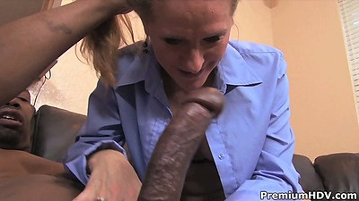 Interracial big dick old mature milf blowjob with Sara James