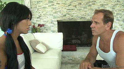 Transsexual Natalie Foxx blowjob in cheerleader outfit