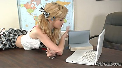 Tiffany Fox a naughty school girl doing her homework and pussy at once