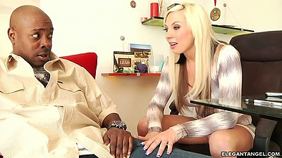 Blonde milf Skylar Price sucking big black dick with massive shaft