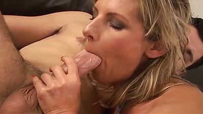 Big dick blwojob with Gyongyi licking balls and sideways anal hairy sex