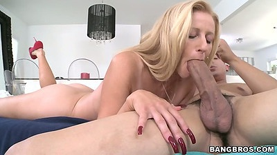 Blowjob with big tits milf Holly while holding her mouth