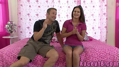 Young teen Kacey 18 taking off her petite shorts to suck cock