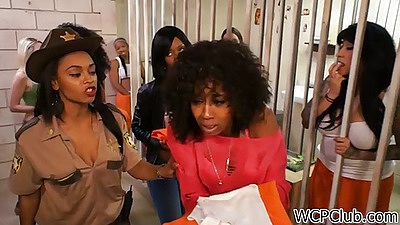 Prison group undressing with Amber Steel and Imani Rose in uniform